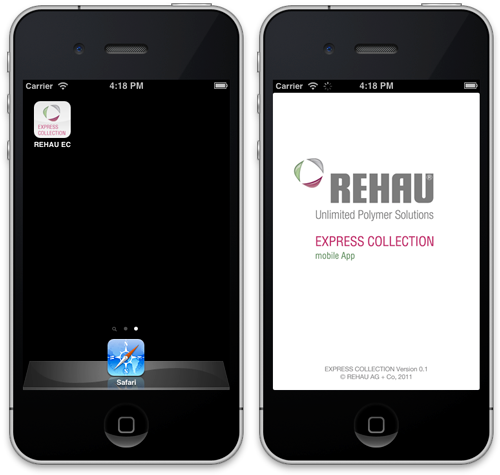 Screenshots of REHAU Express Collection